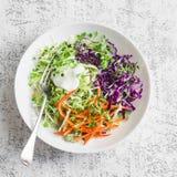 Fjädra kålsallad med gräddfil- och microgräsplaner Den sunda vegetarian bantar matbegrepp På en ljus bakgrund Royaltyfri Foto