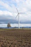 Fjädra landskapet med vindturbinen mot en molnig himmel Arkivfoto