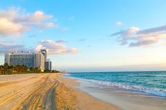 Fjädra morgonen på Miami Beach, Florida, USA Fotografering för Bildbyråer