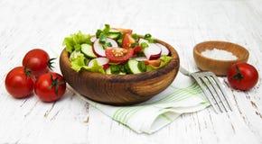 Fjädra sallad med tomaten, gurkor och rädisan Arkivbilder