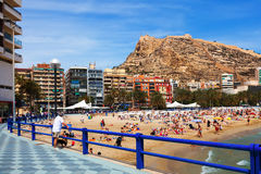 Fjädra sikten av kusten i Alicante, Spanien Arkivbilder