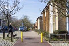 Fjädra sikten på två mil askaområde i Milton Keynes, England royaltyfri foto