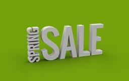 Fjädra text för försäljningen 3d på en grön bakgrund Fotografering för Bildbyråer