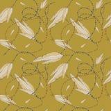 Fjädrar och pärlor, sömlös modell Arkivfoto