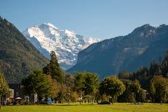 Fjällängar som ses från Interlaken Royaltyfri Bild