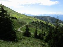 Fjällängarna - sikt av bergmaxima och fält i Österrike Royaltyfri Fotografi