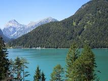 Fjällängarna - sikt av den bergmaxima och sjön i Österrike arkivbild