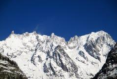 Fjällängsnöpanoramautsikt Monte Bianco Arkivfoton