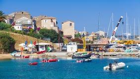 Fjärd av den Propriano semesterortstaden, södra Korsika Arkivbilder