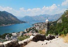 Fjärd av Kotor, berg, landskap för havsdag Fotografering för Bildbyråer