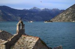 Fjärd av kotor i Montenegro i Adriatiskt havet Arkivfoton