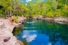 FJÄRD AV SVIN, KUBA - SEPTEMBER 9, 2015: Turist Royaltyfri Foto