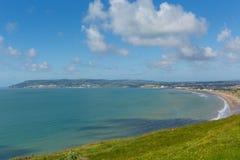 Fjärd och kustlinje Shanklin och Sandown ö av wighten royaltyfria bilder