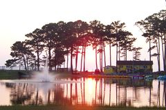 fjärdchesapeake över solnedgång Royaltyfria Foton
