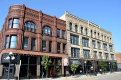 Fjärde gataområde i Sioux City, Iowa. Arkivbild