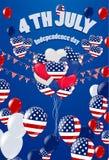 fjärde juli 4th av det Juli feriebanret USA självständighetsdagen stock illustrationer