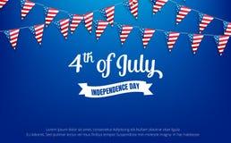 fjärde juli 4th av det Juli feriebanret Till salu USA självständighetsdagenbaner, rabatt, annonsering, rengöringsduk etc. stock illustrationer