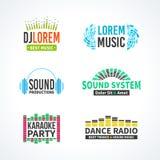 Fjärde uppsättning av vektorn för logo för dj-musikutjämnare Royaltyfria Bilder