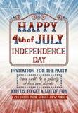 Fjärdedel av den juli inbjudan Arkivfoton