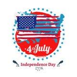 Fjärdedel av den Juli självständighetillustrationen Fotografering för Bildbyråer