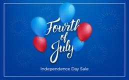 Fjärdedel av den Juli USA självständighetsdagen Feriebaner med glansiga ballonger och bokstäver 4th bakgrund juli stock illustrationer