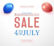 Fjärdedel av Juli, försäljning för specialt erbjudande för Amerikas förenta statersjälvständighetsdagen Bakgrund för vektorbaneri stock illustrationer