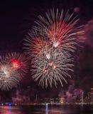 Fjärdedel av Juli fyrverkerier New York City arkivfoton