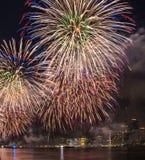 Fjärdedel av Juli fyrverkerier New York City Royaltyfria Bilder