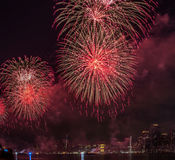 Fjärdedel av Juli fyrverkerier New York City Royaltyfri Bild