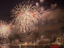 Fjärdedel av Juli fyrverkerier New York City arkivbilder