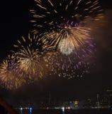 Fjärdedel av Juli fyrverkerier New York City Royaltyfri Foto