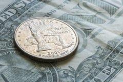 Fjärdedel för USA New York på en dollarräkning Arkivbilder