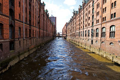 Fjärdedelen av Hamburg Speicherstadt Arkivbild