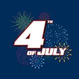 Fjärdedelen av Juli, lycklig självständighetsdagenFörenta staterna vektor illustrationer
