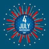 Fjärdedelen av Juli, lycklig självständighetsdagenFörenta staterna stock illustrationer
