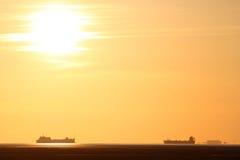 fjärden england morecambe sänder solnedgång Royaltyfria Bilder