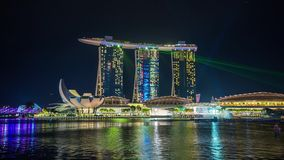 Fjärden för marina för den Singapore laser-showen sandpapprar Timelapse lager videofilmer