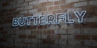 FJÄRIL - Glödande neontecken på stenhuggeriarbeteväggen - 3D framförde den fria materielillustrationen för royalty vektor illustrationer