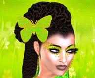 Fjäril i hennes hår Färgrik bild för popkonst av framsidan för kvinna` s med fjärilen i hår Royaltyfria Bilder