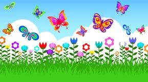 Fjäril i trädgård stock illustrationer