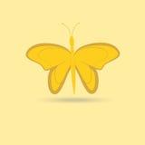Fjäril isolerat objekt på en gul bakgrund Arkivfoto