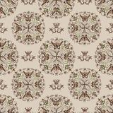 Fjäril Mandala Floral Pattern på den beigea tegelplattan royaltyfri illustrationer