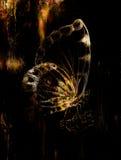 Fjäril med blomman Original- handattraktion Datorcollage och abstrakt begreppbakgrund royaltyfri illustrationer