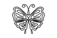 Fj?ril med modeller p? den fortl?pande en linjen dekorativ teckningsbest?ndsdel som f?r vingar isoleras p? vit bakgrund f?r logo  vektor illustrationer