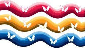Fjäril med uppsättningen för färgbakgrundsvektor Arkivfoto