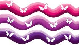 Fjäril med uppsättningen för färgbakgrundsvektor Arkivbild