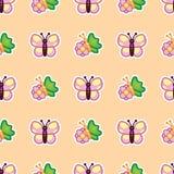 Fjäril och blommande trädgårds- blomma på modellbakgrund Blommor och fjäril för rosa blomning lösa i sommarnatur royaltyfri illustrationer
