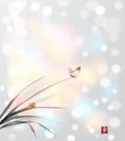 Fjäril och liten snigel på sidor av gräs Royaltyfri Bild