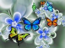 Fjäril på blommor, abstraktion Tapet för wallsnen framförande 3d vektor illustrationer