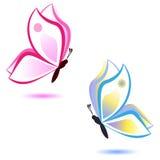 Fjäril, skönhetbegrepp, rosa färger och blått Royaltyfri Foto